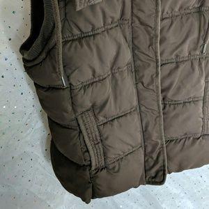 Aeropostale Jackets & Coats - AEROPOSTALE Brown Puffer Vest Fur Hood